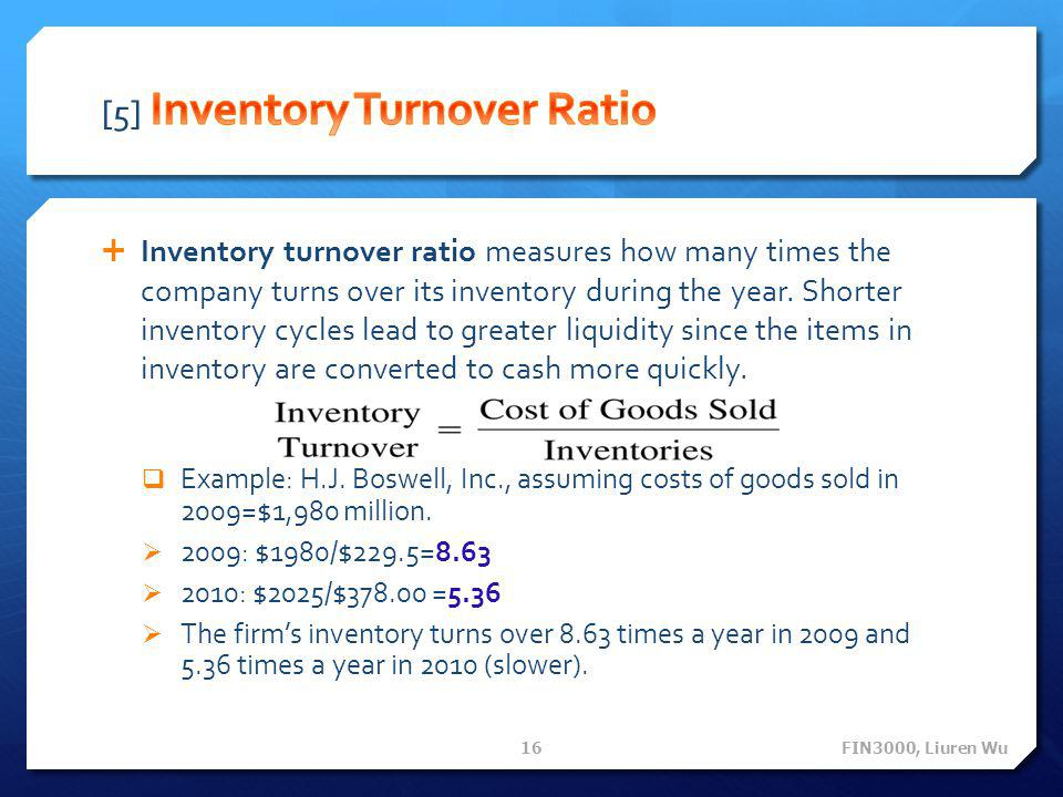 [5] Inventory Turnover Ratio
